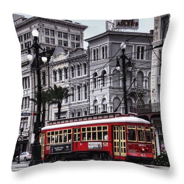 Canal Street Trolley Throw Pillow by Tammy Wetzel