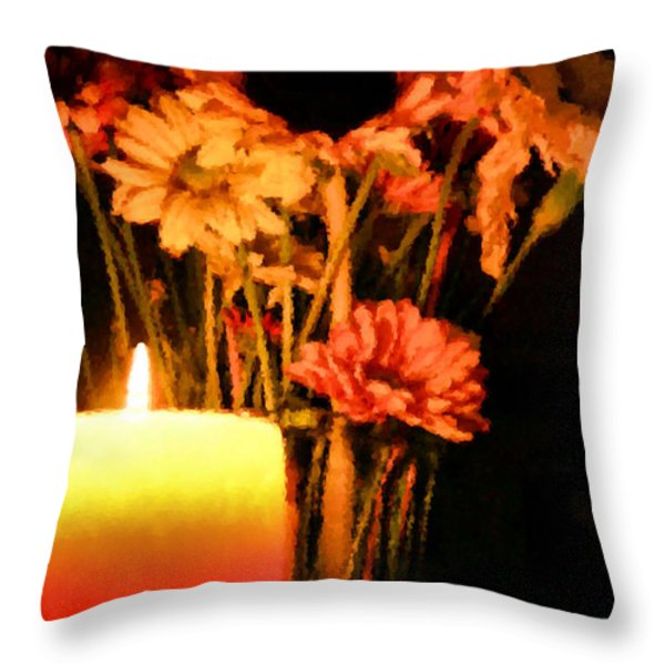 Candle Lit Throw Pillow by Kristin Elmquist