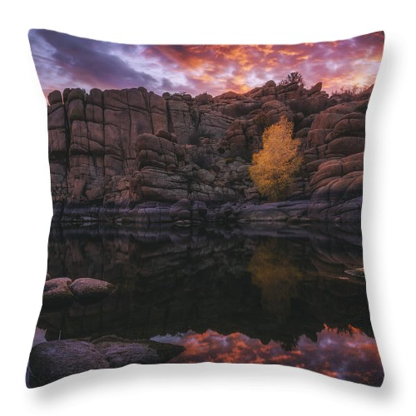 Candle Lit Lake Throw Pillow by Peter Coskun