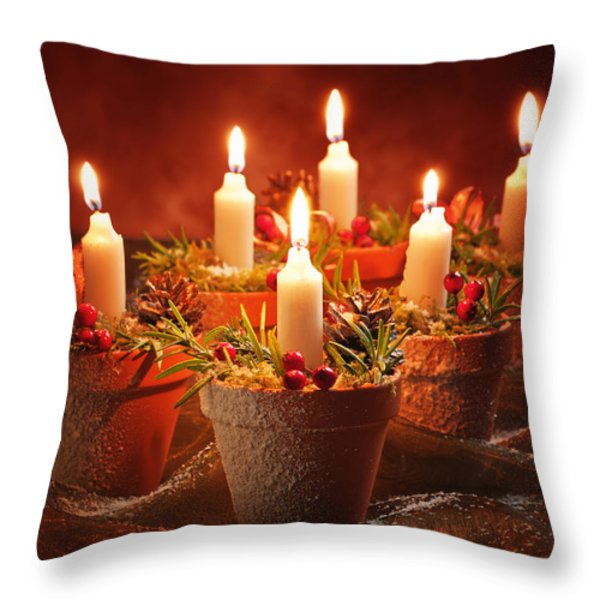 Candles In Terracotta Pots Throw Pillow by Amanda And Christopher Elwell