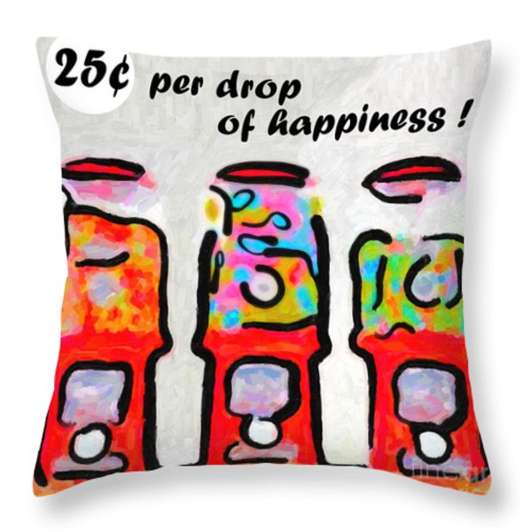 Candy Machines . 25 Cents Per Drop Of Happiness Throw Pillow by Wingsdomain Art and Photography