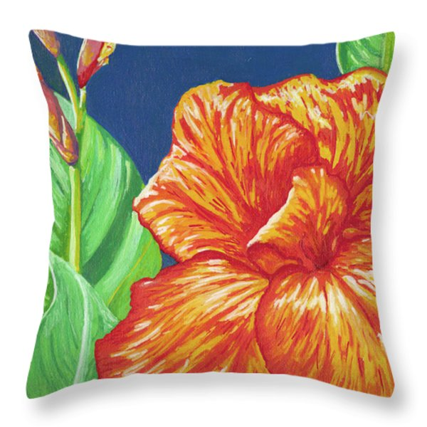 Canna Flower Throw Pillow by Adam Johnson