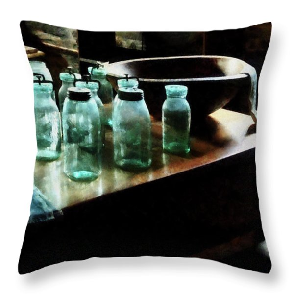 Canning Jars Throw Pillow by Susan Savad