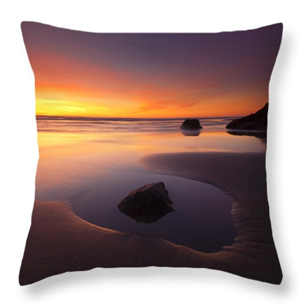 Cannon Beach Sunset Throw Pillow by Mike  Dawson