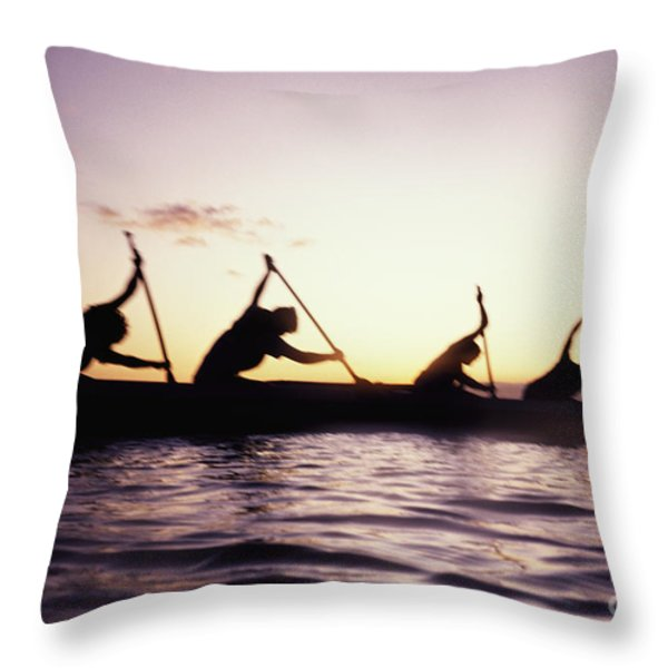 Canoe Race Throw Pillow by Bob Abraham - Printscapes