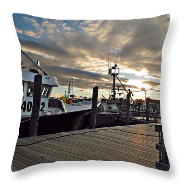 Cape Cod Harbor Throw Pillow by Joan  Minchak