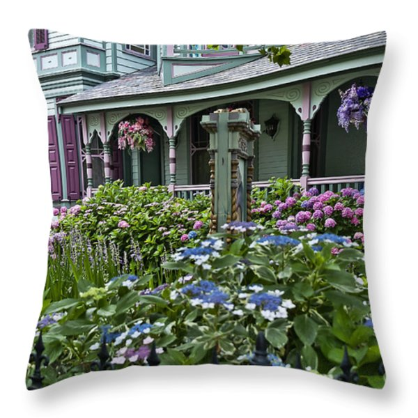 Cape May House And Garden. Throw Pillow by John Greim