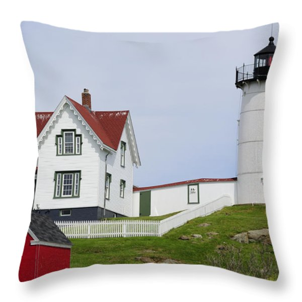 Cape Neddick Light Throw Pillow by Luke Moore