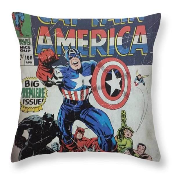 Captain America  Throw Pillow by Rob Hans