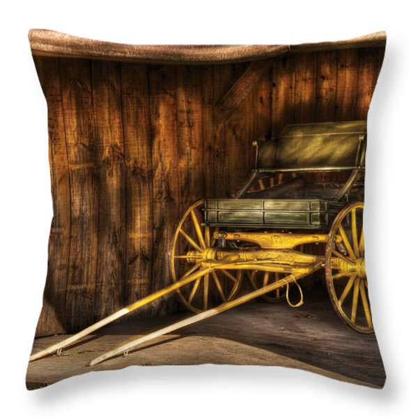 Car - Wagon - The Old Wagon Throw Pillow by Mike Savad