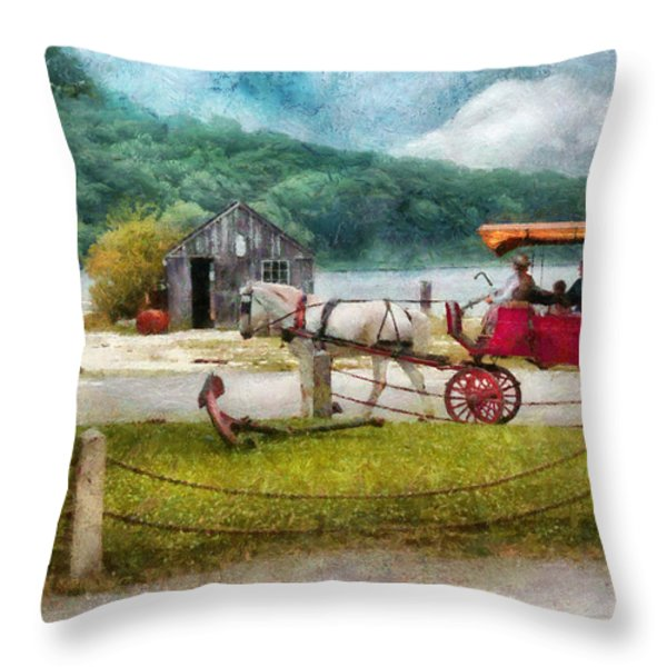 Car - Wagon - Traveling In Style Throw Pillow by Mike Savad