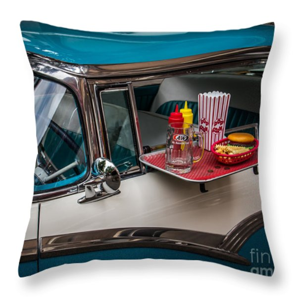 Car Hop Throw Pillow by Perry Webster