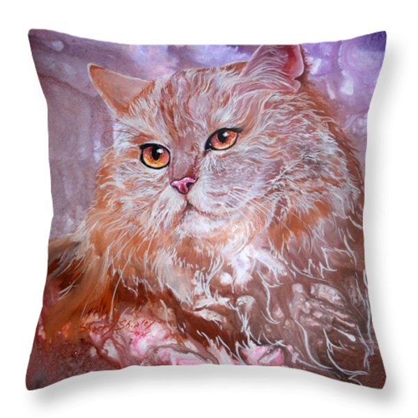 Caramel Cream Throw Pillow by Sherry Shipley