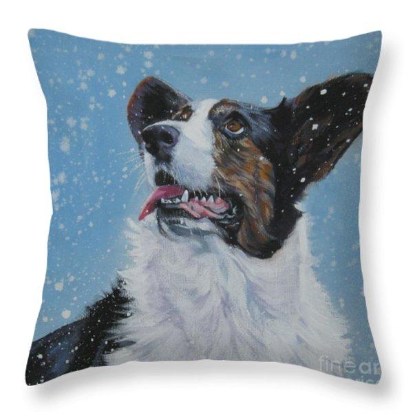 Cardigan Welsh Corgi In Snow Throw Pillow by Lee Ann Shepard