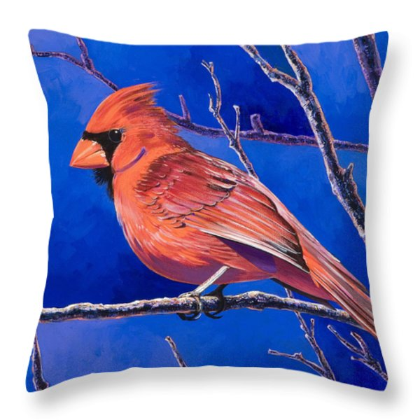 Cardinal Throw Pillow by Bob Coonts
