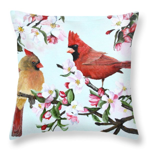 Cardinals And Apple Blossoms Throw Pillow by Johanna Lerwick