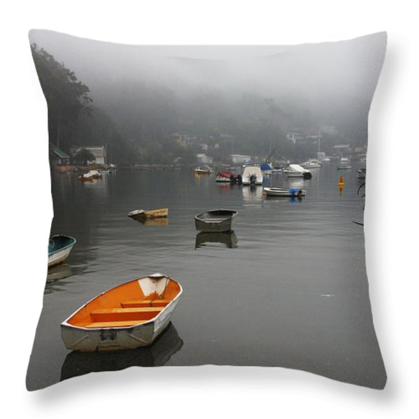 Careel Bay Mist Throw Pillow by Avalon Fine Art Photography