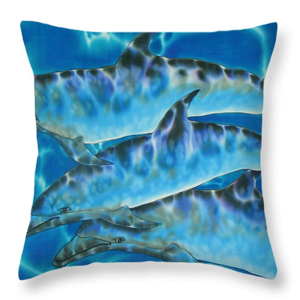 Caribbean Bottlenose Throw Pillow by Daniel Jean-Baptiste