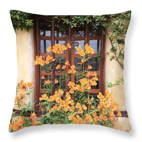 Carmel Mission Window Throw Pillow by Carol Groenen