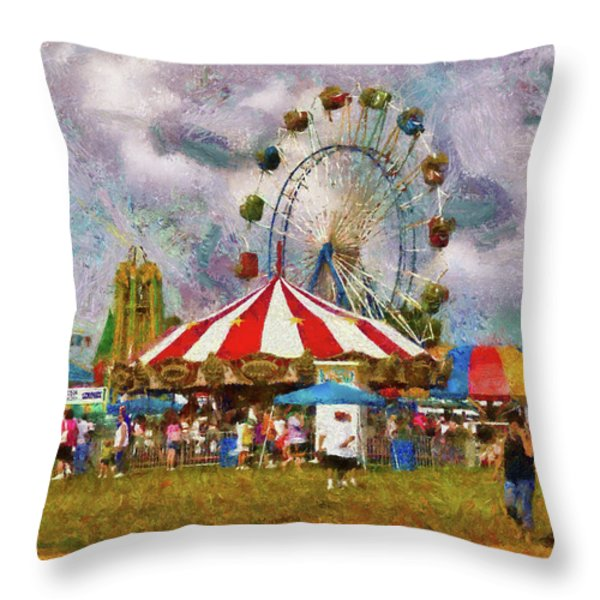 Carnival - Look At All The Excitement Throw Pillow by Mike Savad