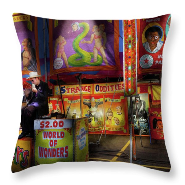 Carnival - Strange Oddities  Throw Pillow by Mike Savad