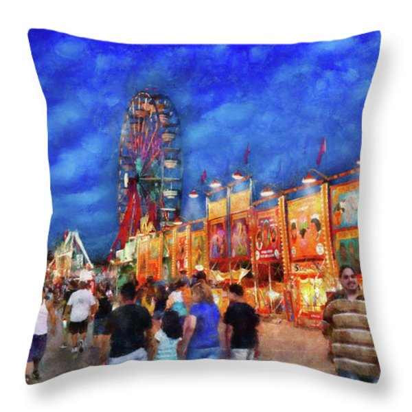 Carnival - The Carnival At Night Throw Pillow by Mike Savad