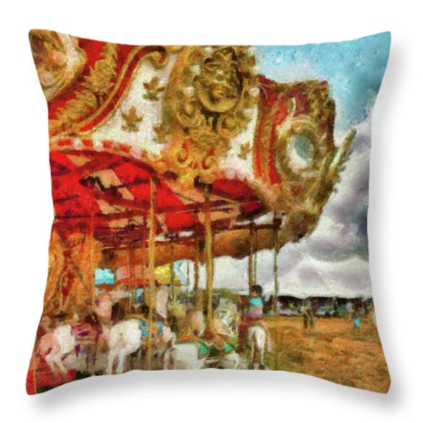 Carnival - The Merry-go-round Throw Pillow by Mike Savad