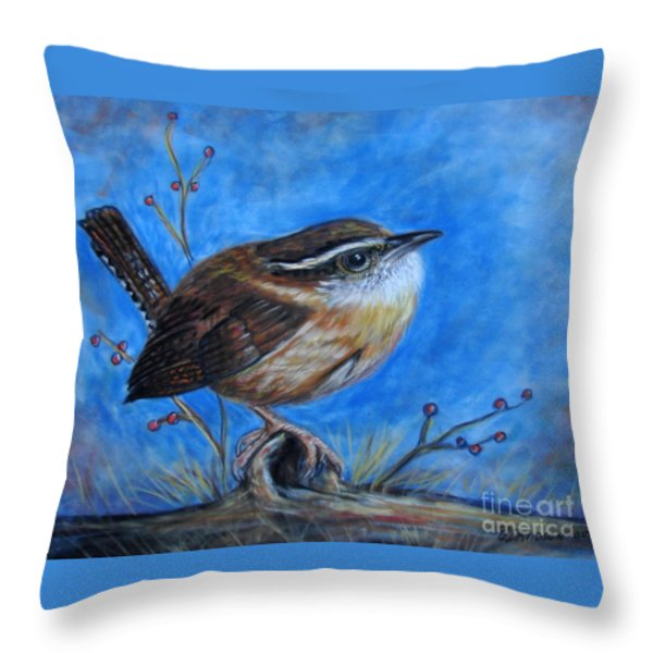 Carolina Wren Throw Pillow by Patricia L Davidson