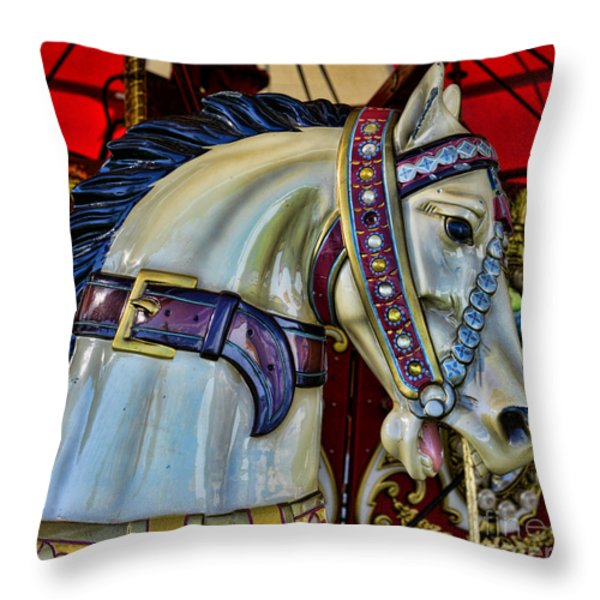 Carousel Horse - 7 Throw Pillow by Paul Ward