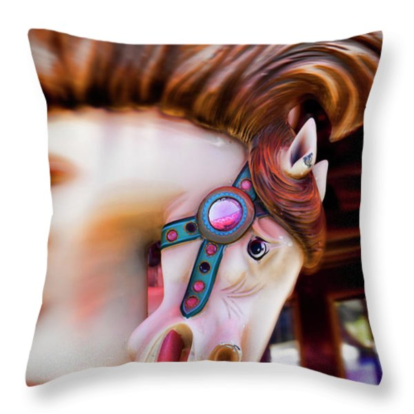 Carousel Horse Portrait Throw Pillow by Garry Gay