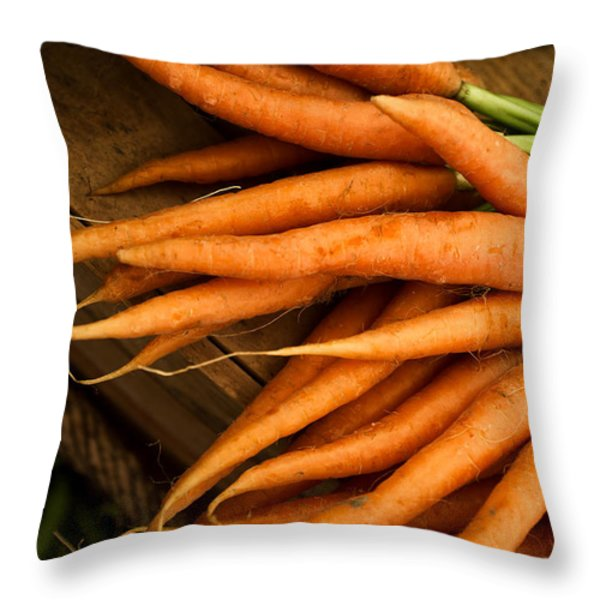 Carrots Throw Pillow by Tanya Harrison