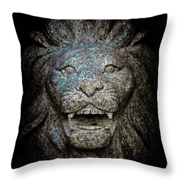 Carved Stone Lion's Head Throw Pillow by Loriental Photography