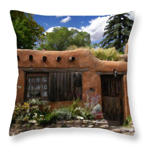 Casita de Santa Fe Throw Pillow by Kurt Van Wagner