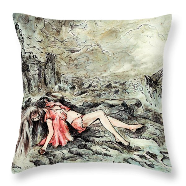 Castaway Throw Pillow by Rachel Christine Nowicki