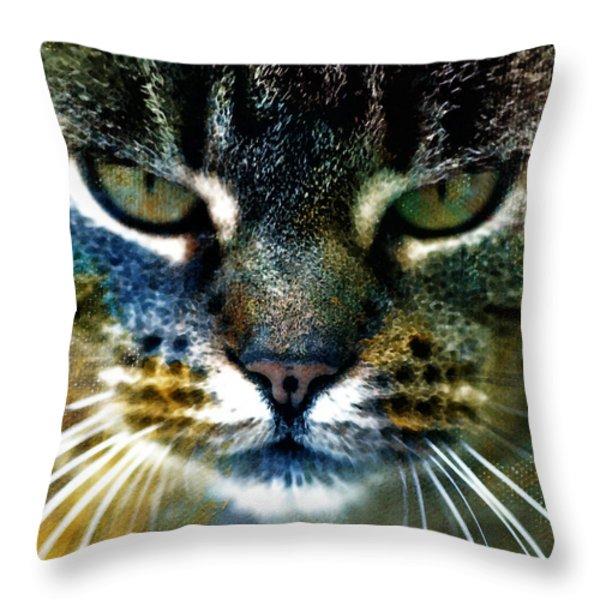 Cat Art Throw Pillow by Frank Tschakert