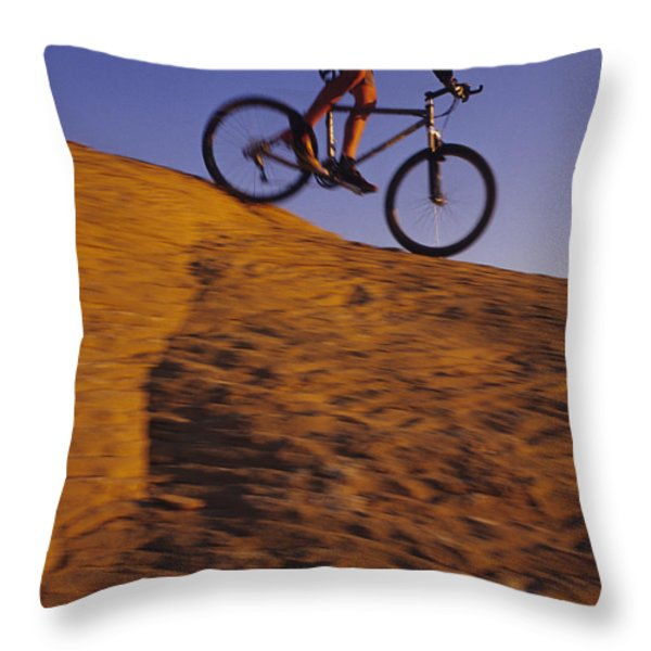 Caucasian Male Mountain Biking Throw Pillow by Bobby Model