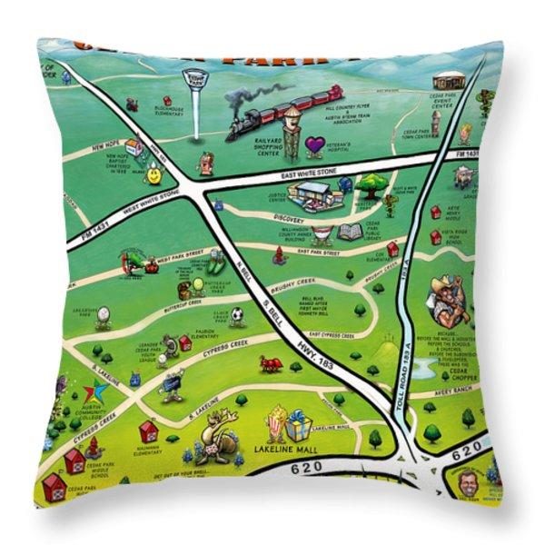 Cedar Park Texas Cartoon Map Throw Pillow by Kevin Middleton
