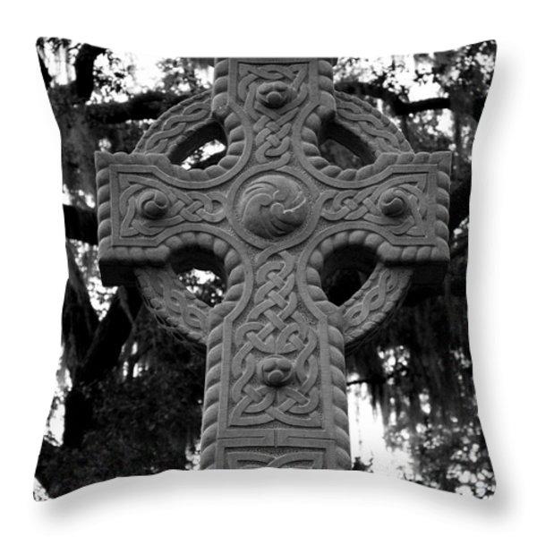 Celtic Cross In Emmet Park Throw Pillow by Carol Groenen