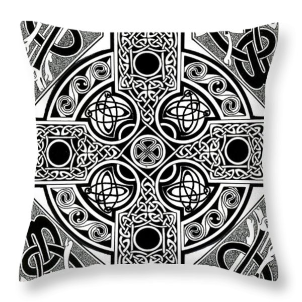 Celtic Cross Tapestry Throw Pillow by Morgan Fitzsimons