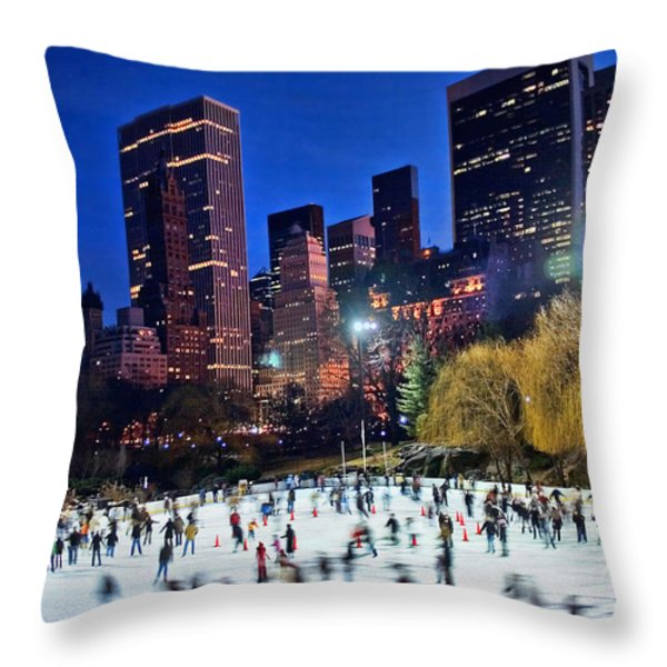 Central Park Skaters Throw Pillow by June Marie Sobrito
