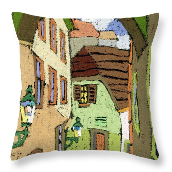 Cesky Krumlov Masna Street Throw Pillow by Yuriy  Shevchuk