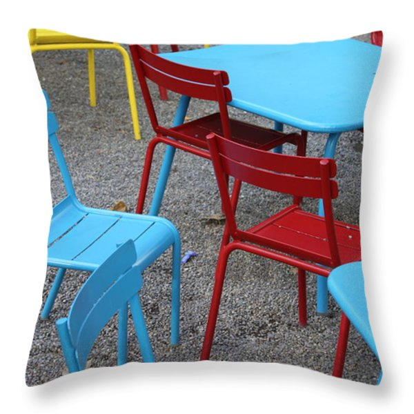 Chairs in Bryant Park Throw Pillow by Lauri Novak