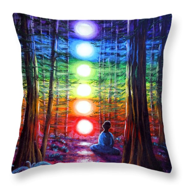 Chakra Meditation In The Redwoods Throw Pillow by Laura Iverson