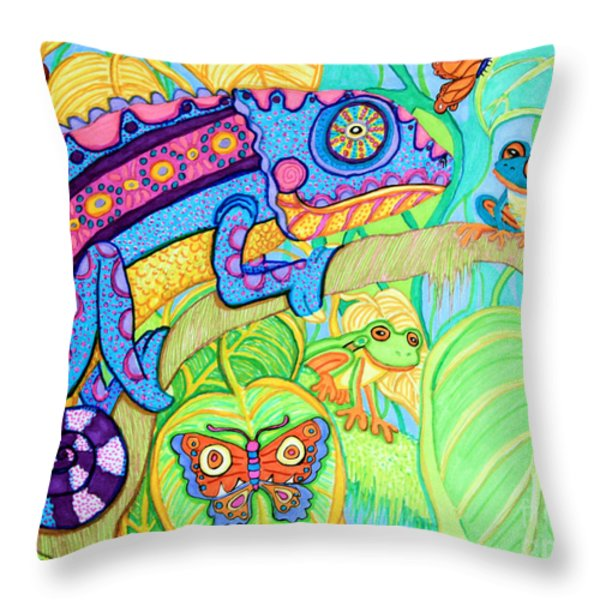 Chamelion And Rainforest Frogs Throw Pillow by Nick Gustafson
