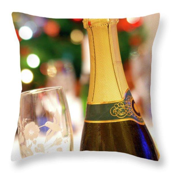 Champagne Throw Pillow by Carlos Caetano