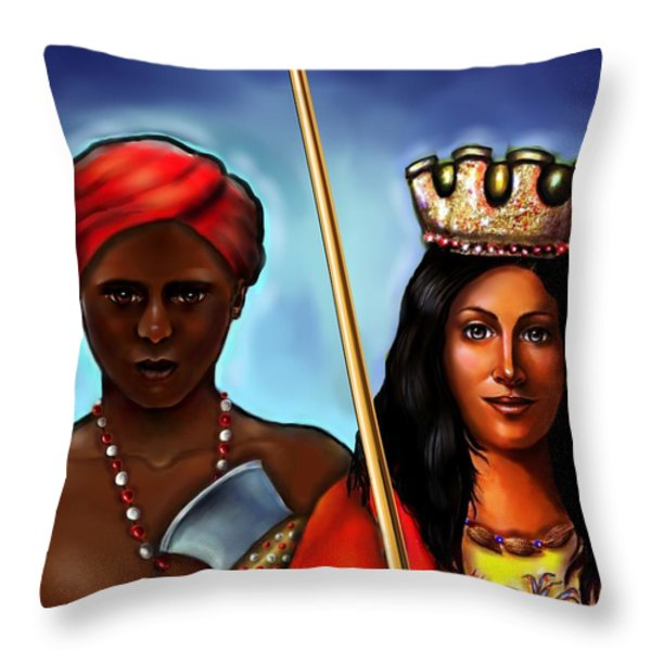 Chango and Saint Barbara Together Throw Pillow by Carmen Cordova