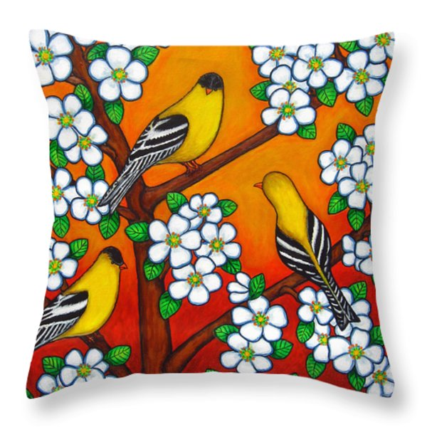 Chardonnay Sunset Throw Pillow by Lisa  Lorenz