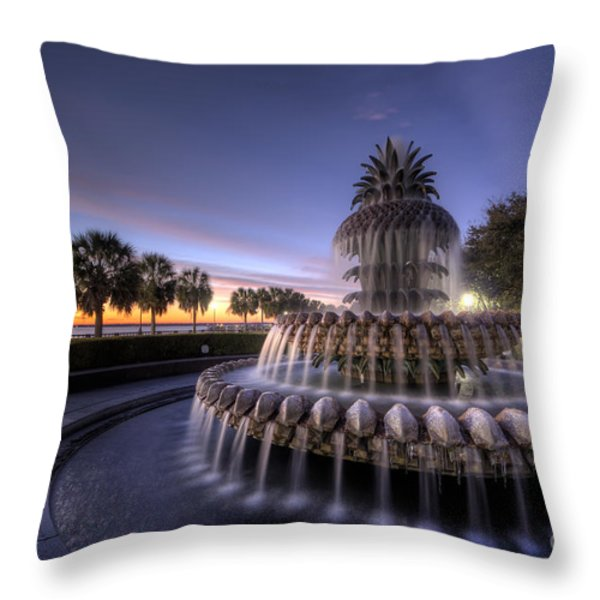 Charleston Pineapple Fountain Sunrise Throw Pillow by Dustin K Ryan