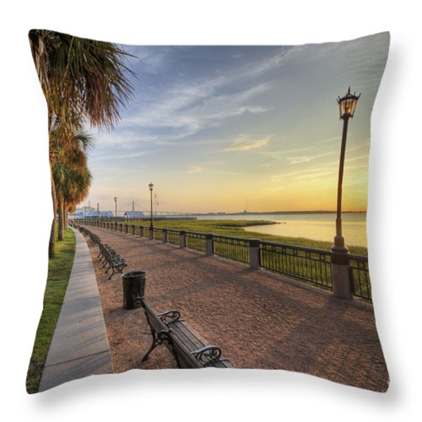 Charleston Sc Waterfront Park Sunrise Throw Pillow by Dustin K Ryan