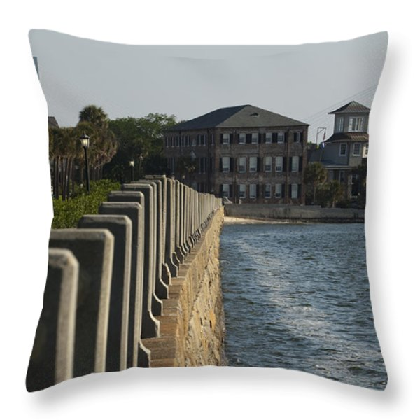 Charleston South Carolina Waterfront Battery Throw Pillow by Dustin K Ryan